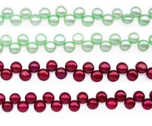 Light Green and Cranberry 6-7mm Top Drilled Button Pearl Strand