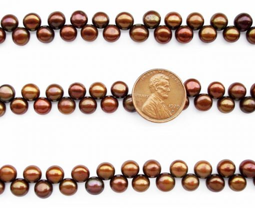 Chocolate 6-7mm Top Drilled Button Pearl Strand