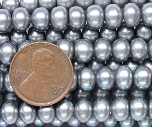 Grey 7-8mm Button Pearl Strand