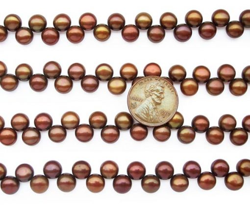 Chocolate 7-8mm Top Drilled Button Pearl Strand