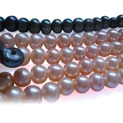 Black and Mauve 7-8mm Button Pearl Strand with 1.7mm Drilled Holes