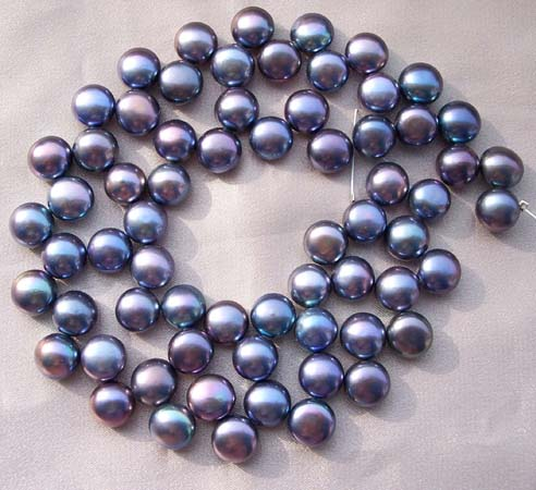 Black 8-9mm Top Drilled Button Pearl Strand