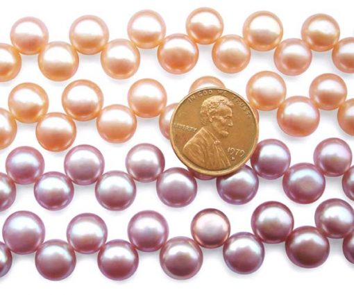Pink and Mauve 8-9mm Top Drilled Button Pearl Strand