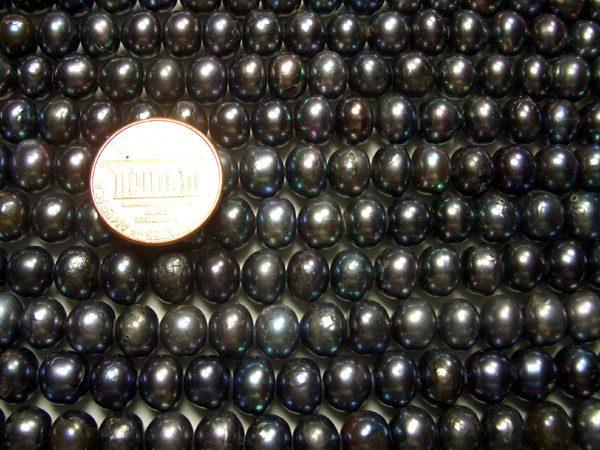Black 8-9mm Button Pearl Strand