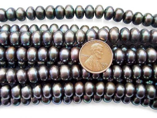 9-10mm Black Button Pearl Strand
