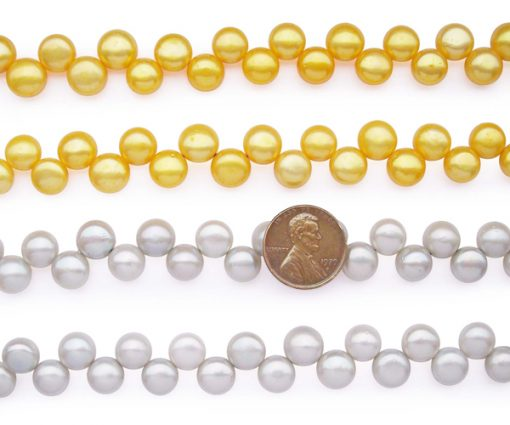 Gold and White 9-10mm AA+ Top Drilled Pancake Pearl Strand