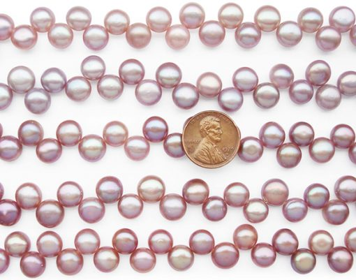 Mauve 9-10mm AA+ Top Drilled Pancake Pearl Strand