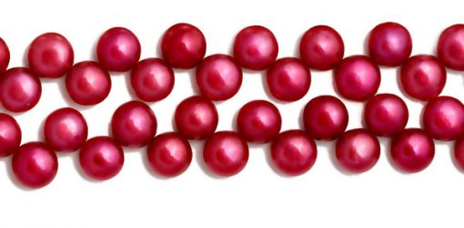 Cranberry 9-10mm AA+ Top Drilled Pancake Pearl Strand