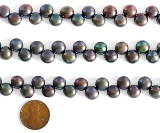 Black 9-10mm AA+ Top Drilled Pancake Pearl Strand