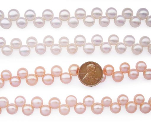 Pink and White 9-10mm AA+ Top Drilled Pancake Pearl Strand