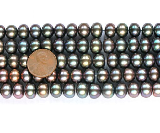Large 10-11mm Button Pearl Strand in Black Color