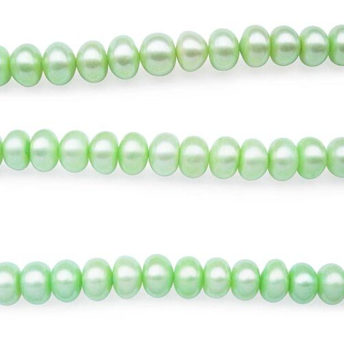 Light Green Large 10-11mm Button Pearl Strand