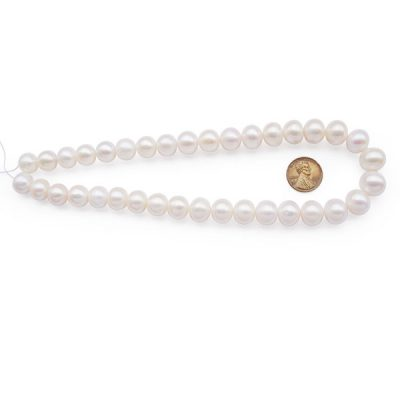 White 11-14mm Gradated Button Pearl Strand