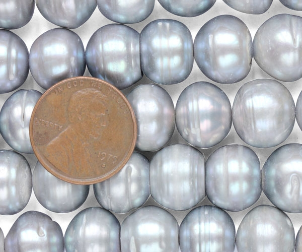 Grey Large 12-13mm Button Pearl Strand with Natural Dents