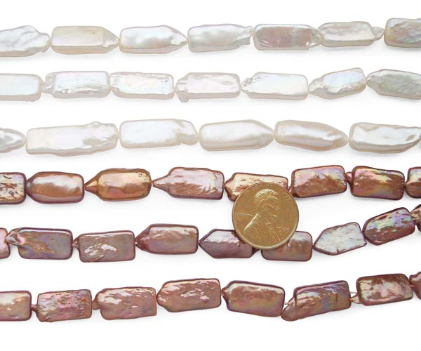 White and Chocolate 8x18mm Rectangular Length Drilled Coin Pearl Strand