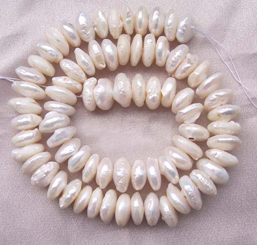 White Center Drilled Round Coin Pearl Strand