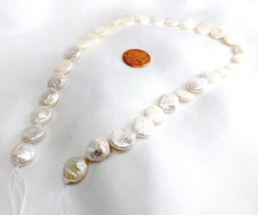 11-12mm Round White Coin Pearl Strand