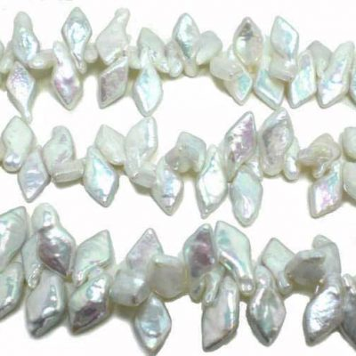 White Top Drilled Diamond Shaped Coin Pearl Strand