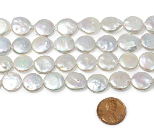 White 13-14mm AA+ Round Coin Pearl Strand