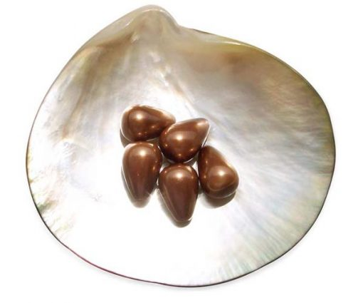 Chocolate 10x14mm Drop Shaped SSS Pearl, Half Drilled