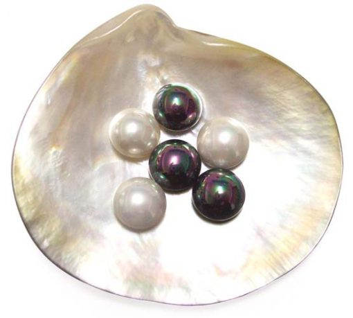 Black and White 12mm Mabe Shaped SSS Pearls, Half-drilled