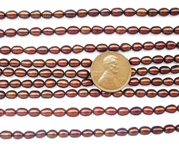 Chocolate 4-5mm Rice or Oval Shaped Loose Pearl Strand