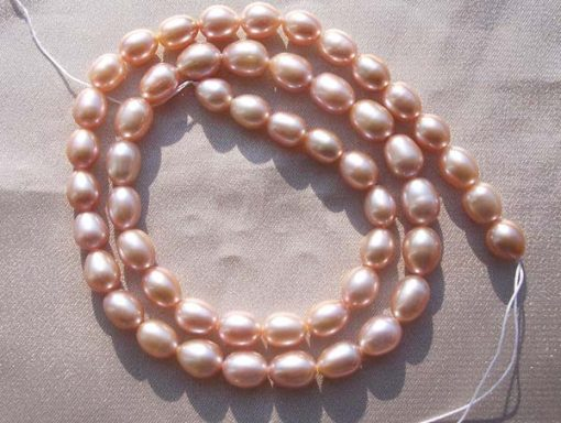 Pink 6-7mm Rice or Oval Shaped Loose Pearl Strand