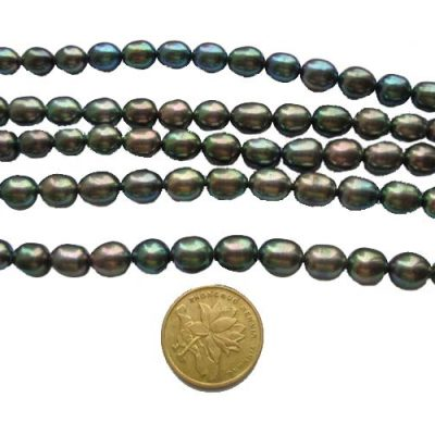 Peacock Black 7-8mm Rice Shaped Pearl Strand