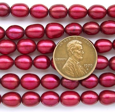 Cranberry 7-8mm Rice Shaped Pearls on Temporary Strand