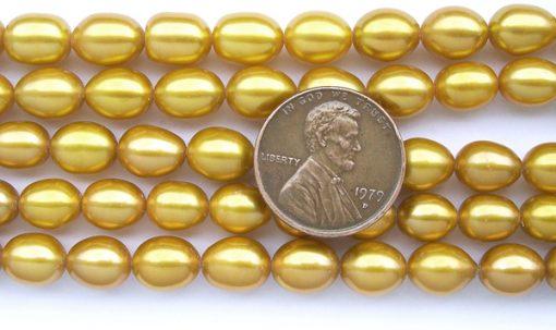 Dark Golden Rod 7-8mm Rice Shaped Pearls on Temporary Strand