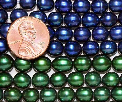 Navy Blue and Christmas Green 7-8mm Rice Shaped Pearls on Temporary Strand