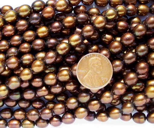 Chocolate 7-8mm Rice Shaped Pearls on Temporary Strand