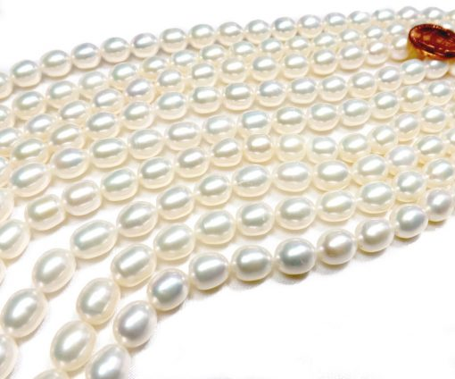 Gem Quality 8-9mm Rice Oval Shaped AAA White Pearl Strand