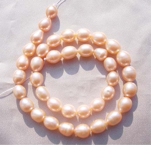Pink 9-10mm Rice or Oval Shaped Pearl Strand