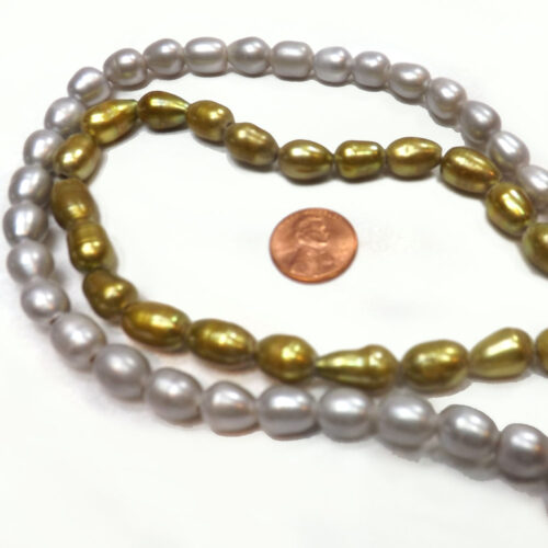 9-10mm White, Grey or Olive Green Rice or Oval Shaped pearl Strand