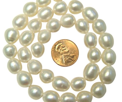 White High Quality 9-10mm Rice Pearls, Larger Holes