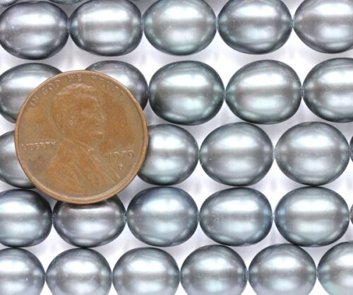 Grey 9-10mm AAA Rice or Oval Shaped Pearl Strand