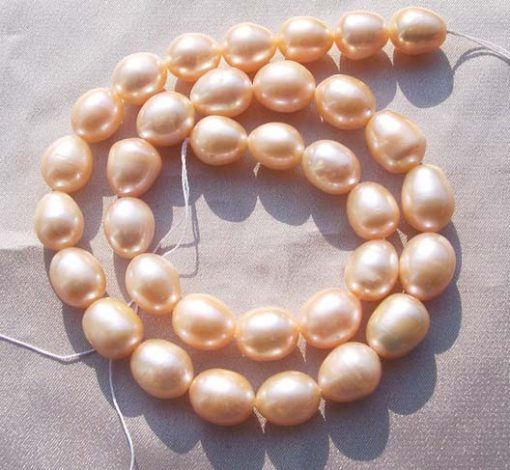 Large 10-11mm Huge Pink Colored Rice Pearl Strand