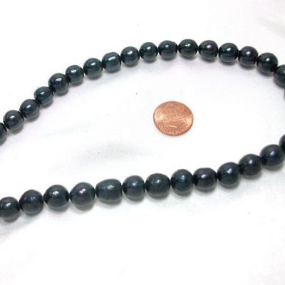 Large Black Colored Freshwater Rice Oval Pearl Strand