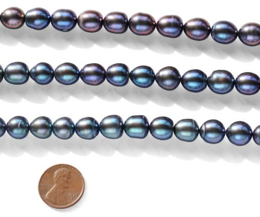 Black 10-11mm A+ Rice or Oval Shaped Loose Pearl Strand