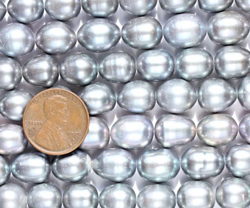 Silver Grey 10-11mm A+ Rice or Oval Shaped Loose Pearl Strand