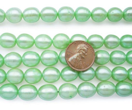 Light Green 10-11mm A+ Rice or Oval Shaped Loose Pearl Strand