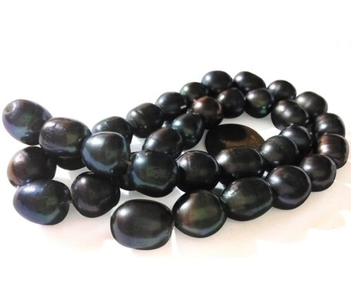 Black 10-11mm Rice Pearl Strands, 1.7mm, 2.0mm and 2.3mm Holes