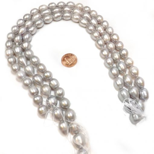 Grey Colored 11-12mm AA Rice Shaped Real Pearl Strands