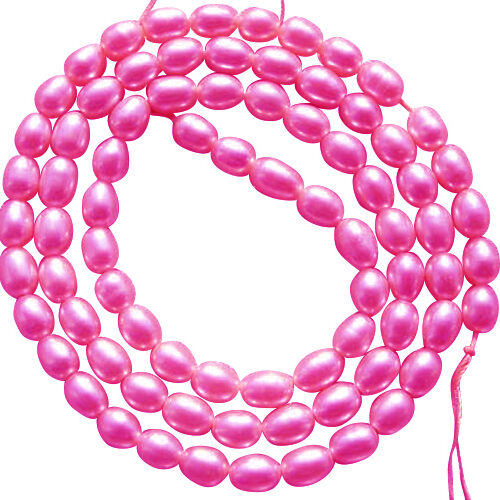 3-4mm AA+ Hot Pink Oval or Rice Strand