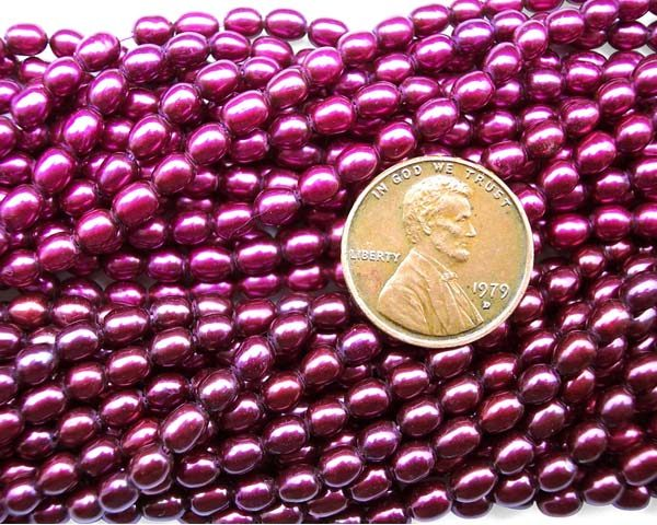 Magenta 3-4mm AA+ Oval or Rice Strand