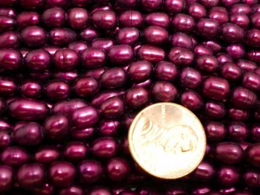 Magenta 5-6mm Oval or Rice Pearl Strands