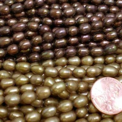 Chocolate Brown and Dark Golden Rod 5-6mm Oval or Rice Pearl Strands