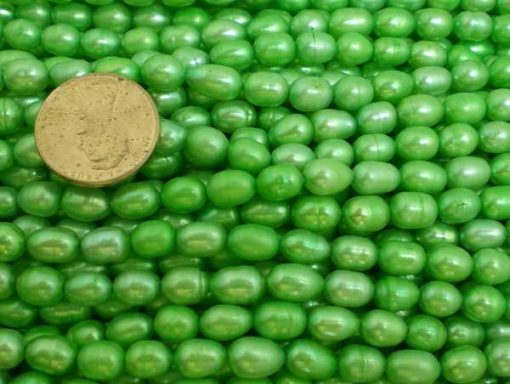 Light Green 5-6mm Oval or Rice Pearls Strands