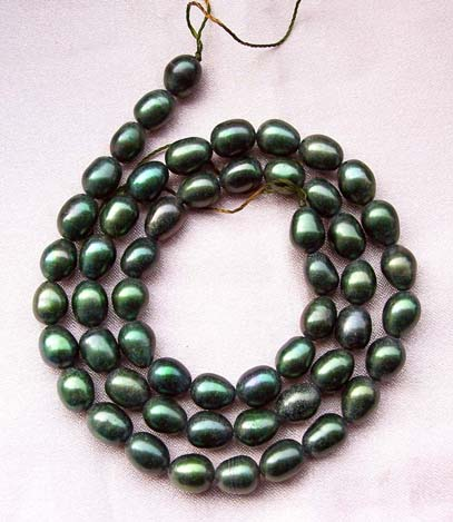 Dark Green 5-6mm Oval or Rice Pearls Strands